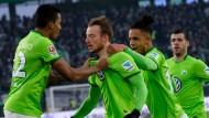 Grün ist die Hoffnung: Wolfsburg jubelt gegen Hoffenheim.