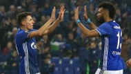 Hand drauf: Schalke mit Schöpf (links) und Choupo-Moting kommt in der Europa League weiter.