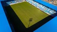 """Das """"Stadion an der Gellertstraße"""", Heimspielstätte des Chemnitzer FC: Die 3. Liga ist gespalten in der Frage ob der Betrieb wieder aufgenommen werden soll."""