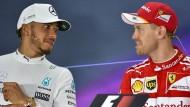 Hamilton gegen Vettel: Die beiden Piloten liegen in der WM-Wertung gleichauf.