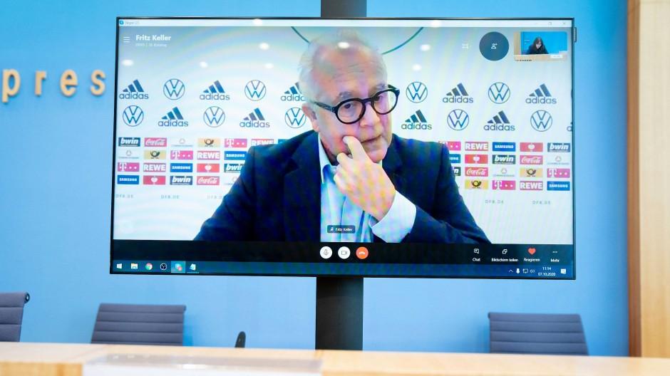 DFB-Präsident Fritz Keller bei der Bundespressekonferenz am Mittwoch.