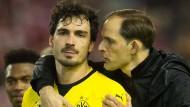"""""""Wir wollen eine schnelle Entscheidung haben"""": Trainer Thomas Tuchel zum Wechselwunsch von Mats Hummels (links)."""