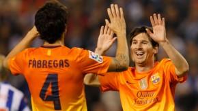 Lionel Messi (rechts) erzielt schon seinen 21. Hattrick für Barcelona