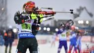 Silber im Visier: Denise Herrmann trägt zu einem starken deutschen Staffelauftritt bei.