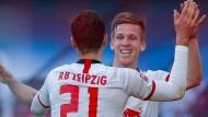 Leipzig hat viel Spaß am Spiel gegen Bremen.