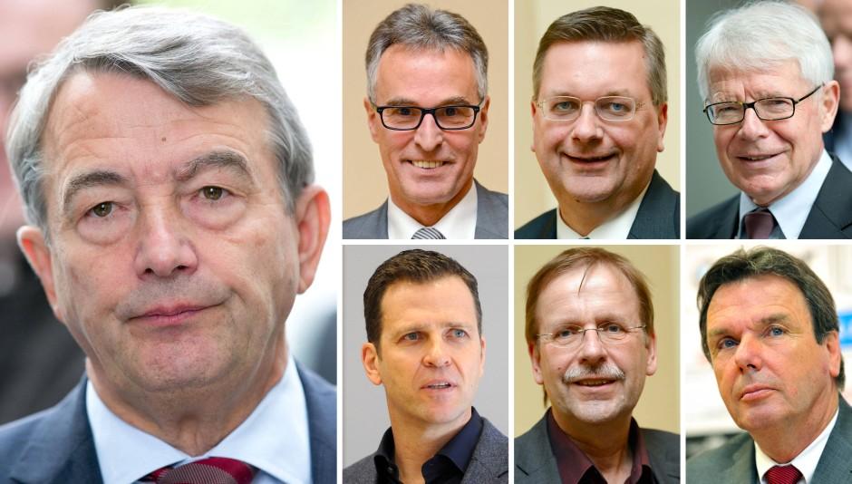 Kandidaten-Kombo neben Wolfgang Niersbach (l.). Obere Reihe l-r: Helmut Sandrock, Reinhard Grindel, Reinhard Rauball. Untere Reihe l-r: Oliver Bierhoff (will nicht), Rainer Koch, Heribert Bruchhagen (will auch nicht)