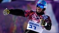 Snowboarder Patrick Bussler freut sich auch über Platz vier