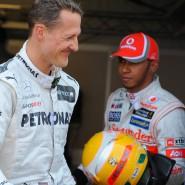 Wechsel in der Rekordliste: Michael Schumacher (links, hier 2012) wird von Lewis Hamilton abgelöst.
