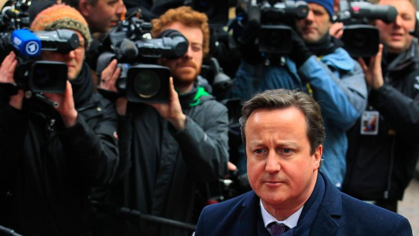 Britain's Prime Minister Cameron arrives at EU council headquarters for an European Union leaders summit in Brussels