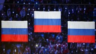 Keine Farben der Unschuld: Die russischen Flaggen bei Leichtathletik-Triumphen
