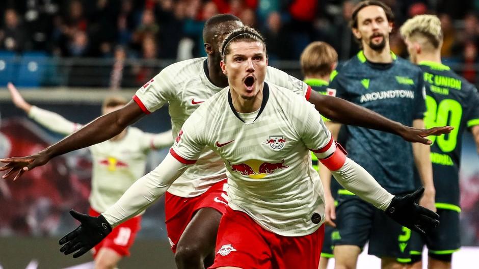 Nach der Halbzeit nicht aufzuhalten: RB Leipzig um Marcel Sabitzer (vorne) beim Spiel gegen Union Berlin