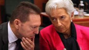 Griechenlands Finanzminister Yannis Stournaras im Gespräch mit IWF-Chefin Christine Lagarde