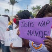Protest gegen den Verbandschef: Frauen in  Haiti fordern die Justiz zum Eingreifen.
