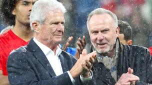 Dietmar Hopp (links) mit Karl-Heinz Rummenigge nach dem Eklat beim Spiel Hoffenheim gegen Bayern am 29. Februar.