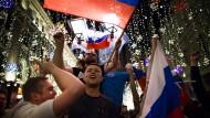 Russische Fans nach dem Sieg ihrer Mannschaft gegen Ägypten bei der WM.