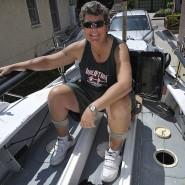Im August 2010: Angela Madsen in ihrem Ruderboot in Long Beach in Kalifornien