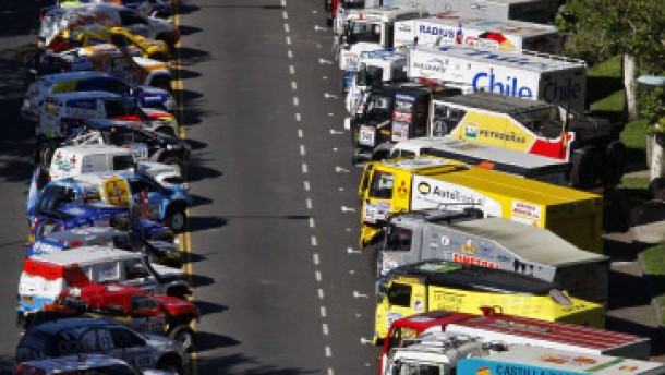 Vehicles are seen parked at the parc ferme of the 2nd South American edition of the Dakar Rally 2010 in Buenos Aires