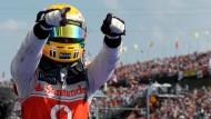 Siegertyp? Hamilton jubelt nach seinem Erfolg in Ungarn
