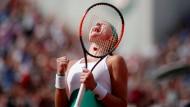 """""""Fuerza"""": Kristina Mladenovic wechselt bei ihren Anfeuerungen auch mal die Sprache."""