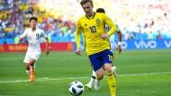 Voller Tatendrang: Emil Forsberg würde das DFB-Team gerne rauskicken.