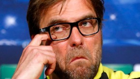 Borussia Dortmund's coach Klopp gestures during a news conference on the eve of their Champions League semi-final second leg soccer match against Real Madrid in Madrid