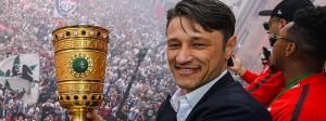 Stolzer Strahlemann: Niko Kovac reckt den Pokal in die Höhe, hinter ihm die Fans am Römer.