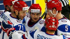 Russia's Kovalchuk celebrates his goal against Germany with his teammates during their 2013 IIHF Ice Hockey World Championship preliminary round match at the Hartwall Arena in Helsinki