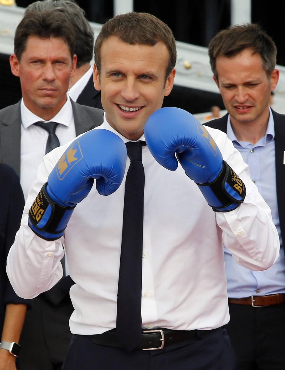 Ready to rumble: Frankreichs Präsident Emmanuel Macron hat sich offenbar gegen Mitkonkurrent Los Angeles durchgesetzt. Olympia 2024 findet wohl in Paris statt.