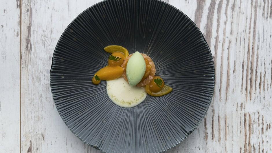 Eines seiner Desserts: Aprikose mit Douglasiensorbet, Grünem Anis und Ziegenjoghurt.
