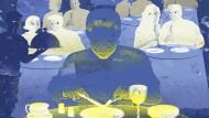 Georg allein am Tisch