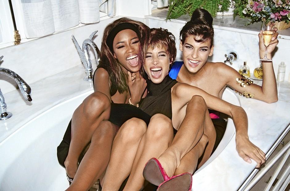 In der Badewanne: Naomi Campbell, Christy Turlington und Linda Evangelista 1990