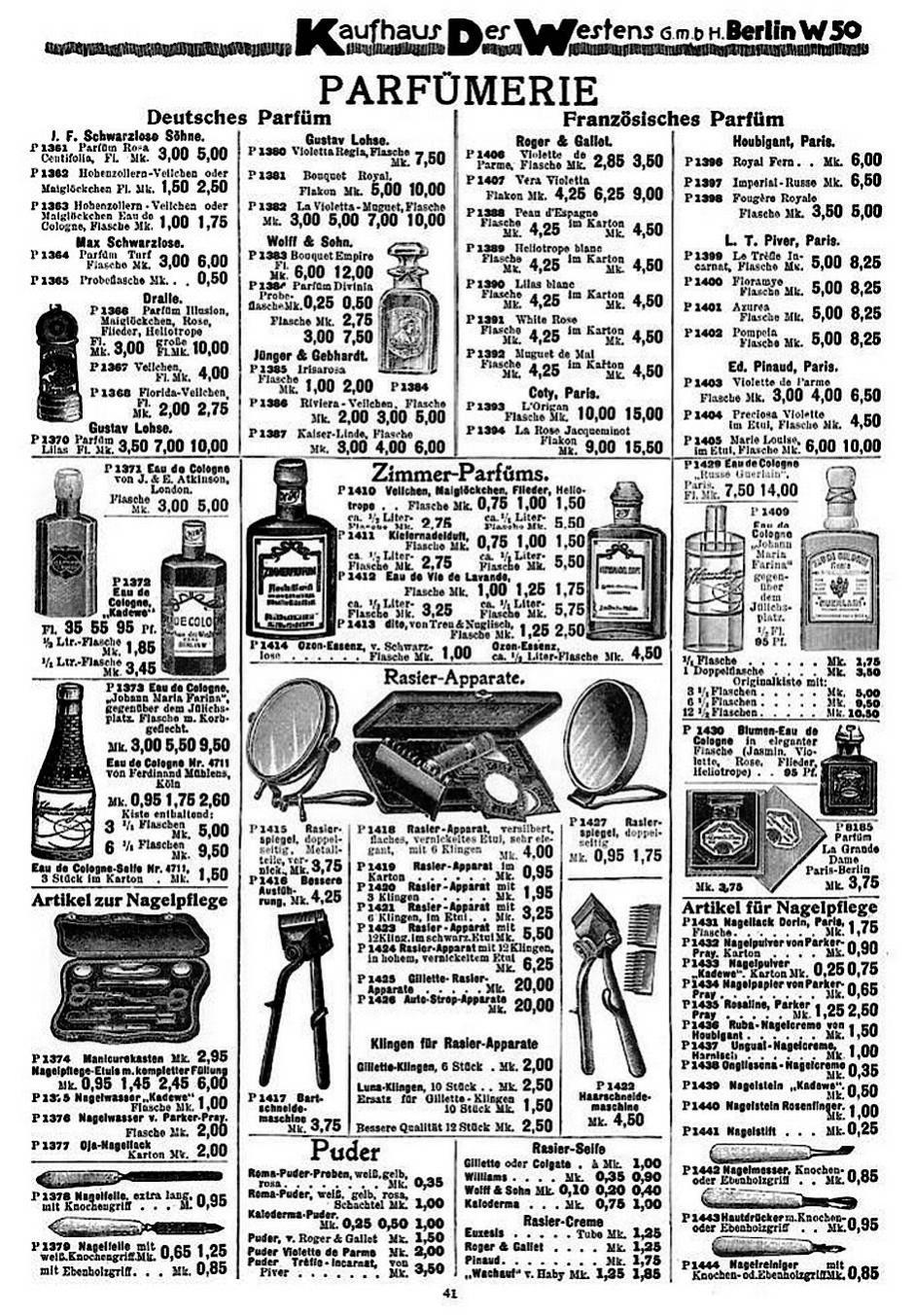 Deutsches Parfüm, französisches Parfüm: Seite aus dem KaDeWe-Katalog von 1913