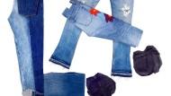 Frame-Jeans (links), J.Brand (links unten), 7 for all mankind (Mitte unten), Levi's (aufgefaltete Jeans), Citizens of Humanity (mit Blumenprint) und Current Elliot (rechts).