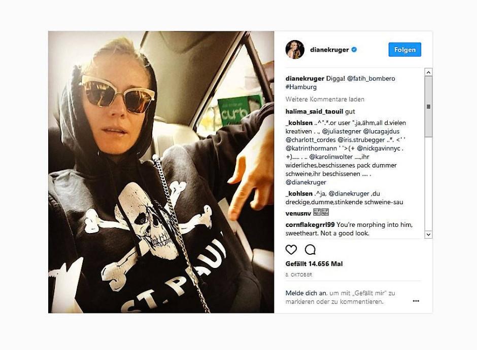 Diane Kruger im St.-Pauli-Kapuzenpulli auf Instagram
