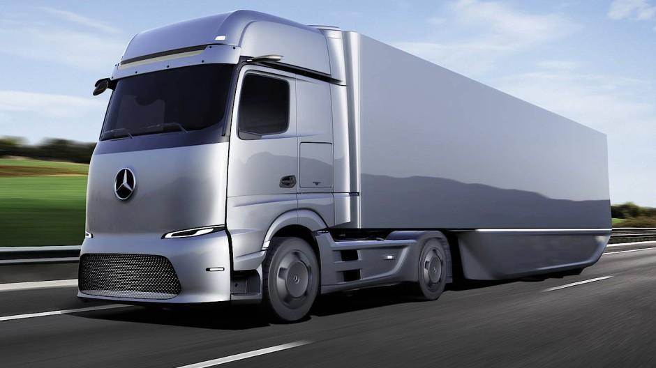 So könnte der Sattelzug der Zukunft aussehen. Der Mercedes-Benz GenH2 aus dem Daimler-Konzern ist ein Prototyp.
