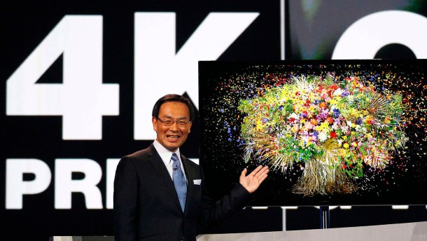 Panasonic chief Tsuga introduces the company's new OLED television during the Panasonic opening day keynote at the Consumer Electronics Show in Las Vegas