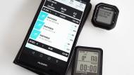 "Smartphone, Garmin Ed25 und Wahoo ""Elemnt"" Mini"