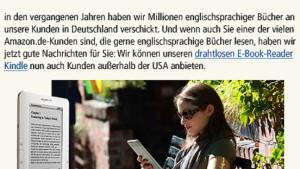 Amazon liefert Kindle nun auch nach Deutschland