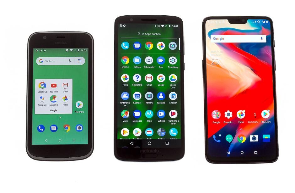 Alle drei Smartphone kommen mit Android als Betriebssystem, das Nokia 1 mit Android Go.