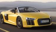 R8 Spyder von Audi in gelb: Aus dem Stand in 3,6 Sekunden auf 100 km/h.