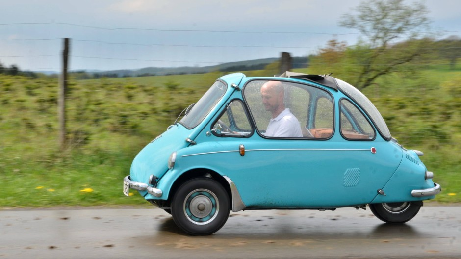 Die pure Nostalgie: Die Heinkel Kabine hat drei Räder, eine Tür und bot früher Platz für eine Kleinfamilie.