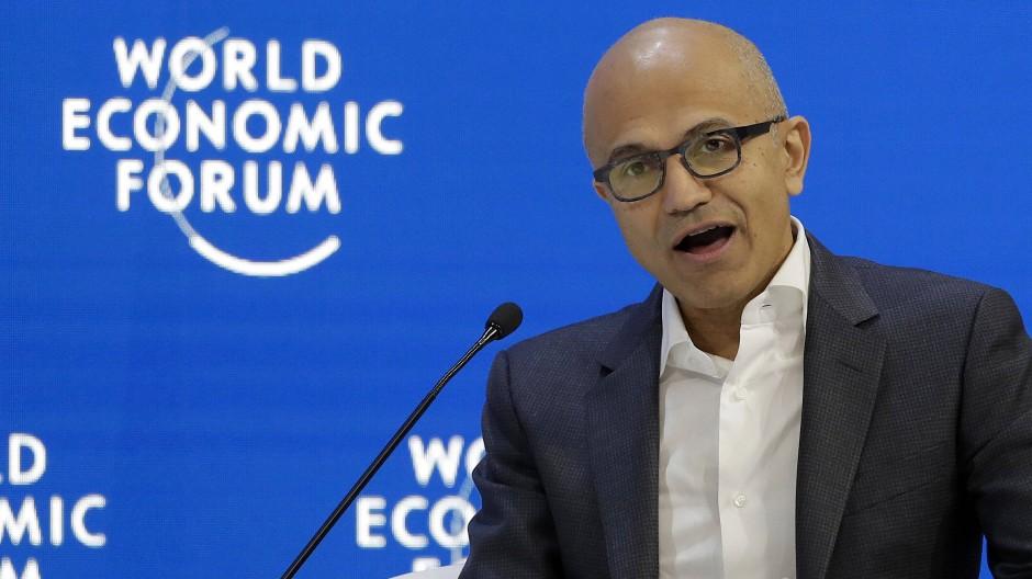 Auch der Microsoft-Vorstandsvorsitzende Satya Nadella ist dieses Jahr in Davos.