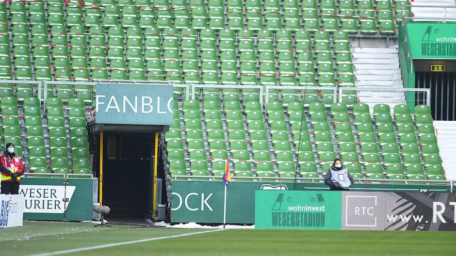 Der Fanblock von Werder Bremen bleibt im Moment leer