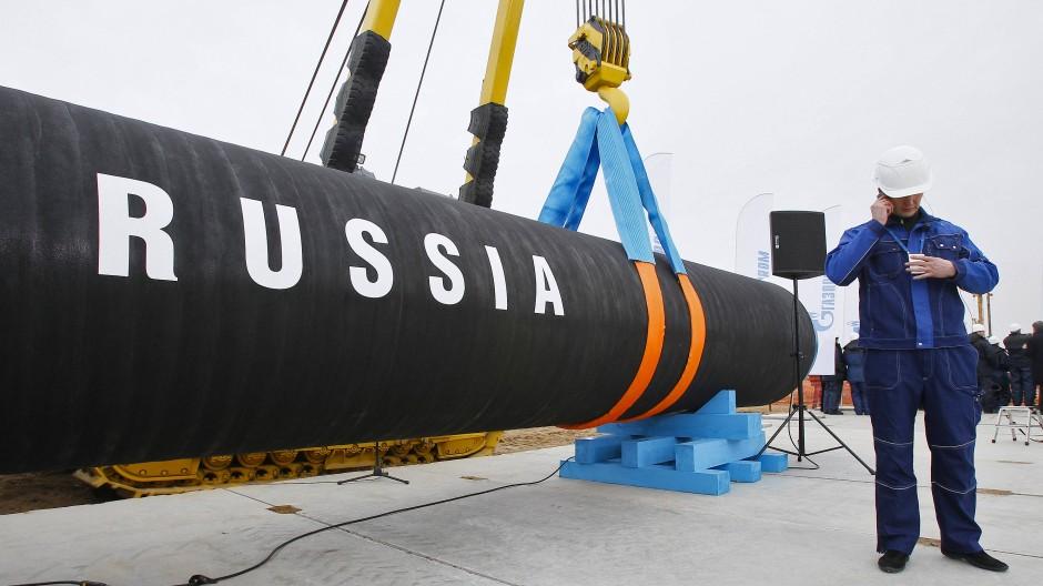 """Auf diesem Rohr für die Pipeline """"Nord Stream 2"""" steht nicht umsonst groß """"Russland""""."""