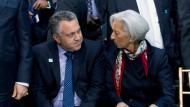Der australische Schatzkanzler Joe Hockey im Gespräch mit IWF-Direktorin Christine Lagarde