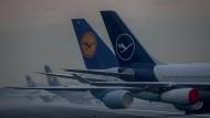 Geparkte Lufthansa-Maschinen auf dem Frankfurter Flughafen Mitte Dezember 2020