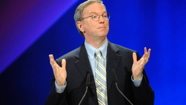 Google CEO Eric Schmidt gives a speech during the opening ceremony of the CeBIT computer fair in Hanover