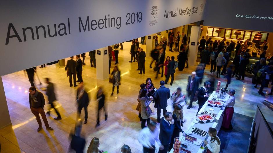 Teilnehmer des Weltwirtschaftsforums im Kongresszentrum in Davos.