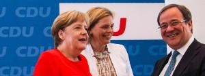 Angela Merkel, Julia Klöckner und Armin Laschet während des Treffens der CDU-Führung heute in Berlin.