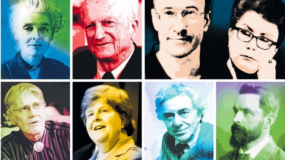 Acht Weltverbesserer (von oben links im Uhrzeigersinn): Beatrice Webb, Gary Becker, Kenneth Rogoff und Carmen Reinhart, Silvio Gesell, Hyman Minsky, Christina Romer, Vernon Smith.